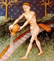 Acquario ( Aquarius ) rappresentato in un libro di astrologia del XV secolo