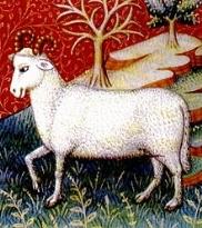 Ariete (Aries) rappresentato in un libro di astrologia del XV secolo