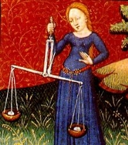 Bilancia ( Libra ) rappresentato in un libro di astrologia del XV secolo