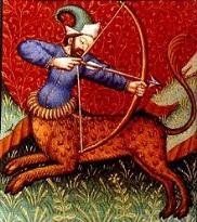 Sagittario ( Sagittarius ) rappresentato in un libro di astrologia del XV secolo